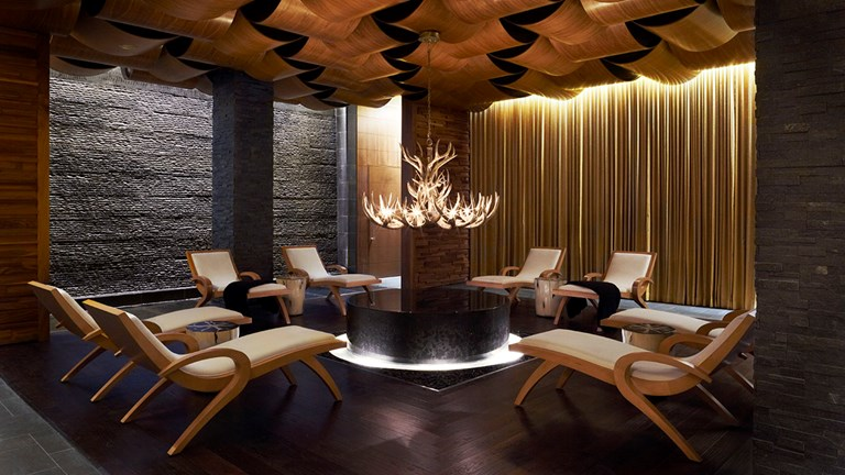 Guests can sip tea and nibble on snacks in the spa's relaxation lounge before and after a treatment.