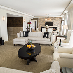 Living room of the renovated Royal Suite // © 2015 InterContinental Los Angeles Century City