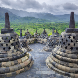 These stupas are part of which huge temple complex? // © 2013 Thinkstock