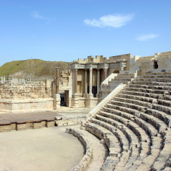 This theater is one of the Roman ruins that travelers can see when visiting an ancient city south of the Sea of Galilee. Which city is it? // © 2014 Yan Vugenfirer