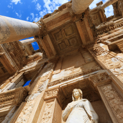 Pictured is the facade of which ancient library? // © 2016 iStock