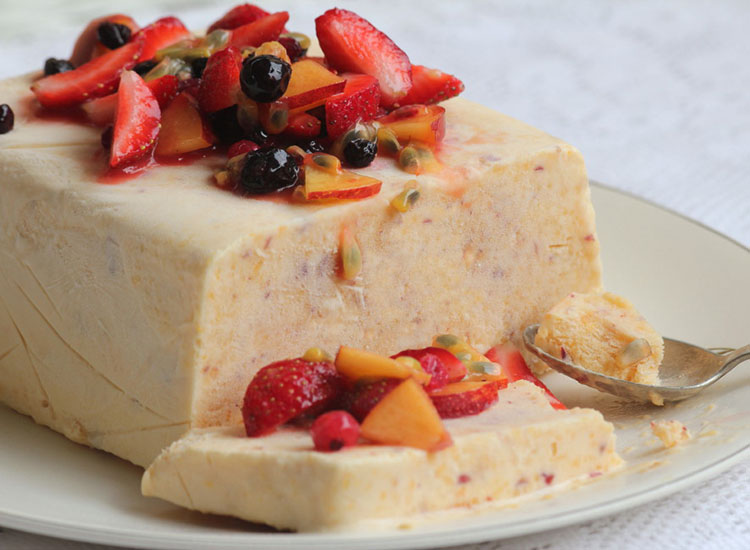 This creamy semifreddo with summer fruits originates from Italy. // © 2014 Creative Commons user strawbryb
