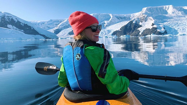 Mindy Poder during a kayaking excursion in Antarctica with Aurora Expeditions