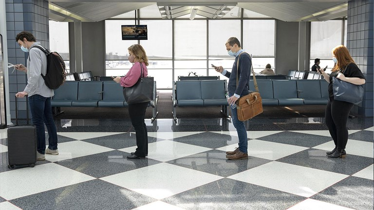 Social distancing while boarding is now standard practice.
