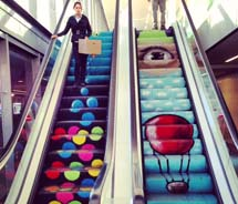 The Tel Aviv Municipality Building's multi-colored escalator by graffiti and street artist, Dover D // (c) 2012 Skye Mayring