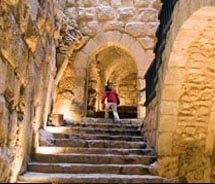 Ajloun is a maze of stairways and vaulted antechambers.// © 2010 Janice Mucalov