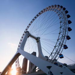 The Tianjin Eye is a 394-foot-high Ferris wheel overlooking the Hai River. // © 2013 Thinkstock