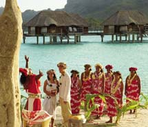 The Resort Beach, which offers a picturesque view of Mount Otemanu, is one of seven wedding locations at the Four Seasons Resort Bora Bora. // © 2011...