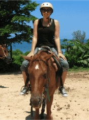 Managing Editor Janeen Christoff enjoys an afternoon horseback riding in Jamaica