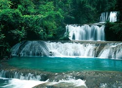 The showpiece of YS Falls is a seven-tiered waterfall. // © 2009 Jamaica Tourist Board