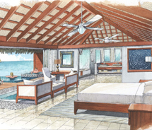 An artist's rendering of the over-the-water suites at Sandals Grande Saint Lucian Spa & Beach Resort // © 2012 Sandals Resorts