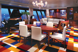 Norwegian Cruise Line's Dawn features a full-scale living room in the Garden Villa. // (c) NCL