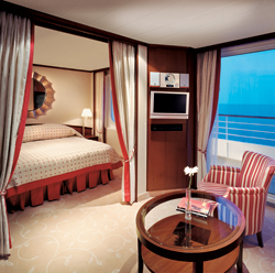A Penthouse Suite with Verandah on Crystal Serenity caters to luxury passengers. // (c) Crystal Cruises