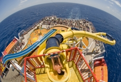 The Twister water slide is just one feature of Carnival's newsly renovated Fantasy Class ships // (c) 2010 Carnival Cruise Lines