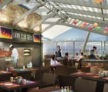 A rendering of the Lawn Club Grill, a 56-seat outdoor interactive grill offering high-end burgers and interactive demonstrations // © 2011 Celebrity...