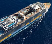 Allure of the Seas, pictured here, was constructed with environmentally friendly technologies; Royal Caribbean International's new ships will take the...