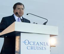 Frank Del Rio, the founder of Oceania Cruises and Chairman & CEO of Prestige Cruise Holdings spoke at Oceania Cruises' new ship Marina christening...