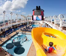 The top deck of the Dream is ringed by the AquaDuck Water Coaster. // © 2011 Disney Cruise Line