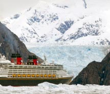 The Disney Wonder sails past glaciers to the Tracy Arm Fjord. // © 2011 Disney Cruise Line