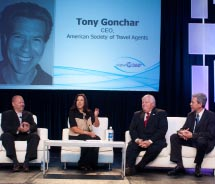 Tourism executives discuss the changing role of the travel agent at Cruise3sixty.// © 2012 CLIA