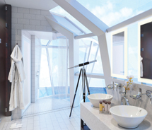 The Reflection suite has drawn attention for its cantilevered shower. // © 2012 Celebrity Cruises