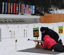Managing Editor, Janeen Christoff, takes a shot at Biathlon. // © 2011 Janeen Christoff