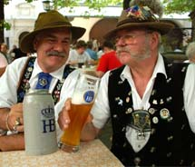The Hofbrauhaus is known for its traditional German beer, served in large beer steins.  // © 2011 Hofbrauhaus