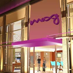 An artist rendering of a Moxy Hotel, Marriott's first entry into the economy tier. // © 2013 Marriott International