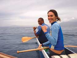 Clients hang loose in an outrigger paddling canoe on Maui // (c) Catherine Lo 2008