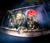 Ghoulish clowns are a mainstay of the PCC's annual Haunted Lagoon Halloween event. // (c) 2010 Poynesian Cultural Center