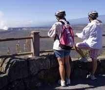 A Volcano Bike tour allows clients to get a view of the Kilauea Caldera. // © 2010 Janice Mucalov