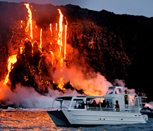 A cruise with Lava Ocean Tours enables passengers to get up-close with lava flowing into the ocean. // © 2013 Lava Ocean Tours