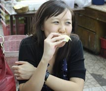Having fresh durian for the first time in Singapore // © 2011 Deanna Ting