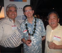 At the MLT Vacations' partner reception in Honolulu (left to right): Barrett De Santos, director of sales, Honua Kai Resort; Michael Warnken, vice...