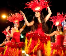 Tahitian dancers perform at the Pan-Pacific Festival's Waikiki block party. // © 2012 Pan Pacific Festival