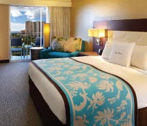 Guestrooms have been tweaked to make working on the road more convenient. // © 2012 Doubletree by Hilton Alana Waikiki