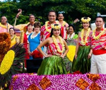 The annual Aloha Festivals Floral Parade features colorful floats and talented island performers.  // © 2012 Hawaii Tourism Authority/Tor Johnson