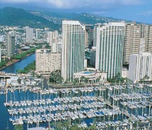 The Hawaii Prince Hotel Waikiki overlooks Ala Wai Yacht Harbor. // © 2012 Prince Resorts Hawaii