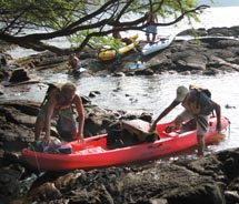 Shortly after arriving at Kealakekua Bay, we carefully brought our kayaks ashore. // © 2010 Deanna Ting