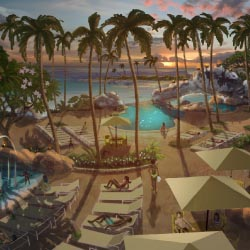 An artist rendering of the new pool and water-play area at Aulani // © 2013 Disney