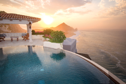 A rendering of Capella Pedregal depicts a sunset over one of the resort's infinity pools. // (c) Capella Hotels & Resorts