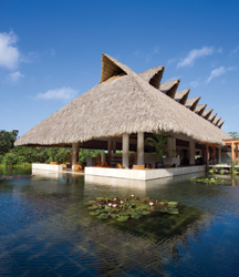 The five-diamond property boasts artful, manmade water features and a natural cenote. // (c) Mandarin Oriental