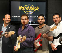 Hard Rock International executive vice president of hotels and casinos Michael Shindler with Palace Resorts owners Rodrigo Chapur, Rafael Chapur and...