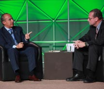 President Felipe Calderon (left) and Peter Greenberg at the first-ever Americas Summit // © 2012 World Travel & Tourism Council