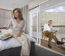 Scenic ships will feature glass-enclosed balconies. // © 2012 Scenic Cruises