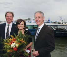 From left: Stewart Williams, president of Avalon Waterways, Australia; Lisa Wilkinson, godmother of Avalon Panorama; and Patrick Clark, managing...