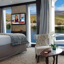 A suite onboard the Queen Isabel. // © 2013 Uniworld Boutique River Cruise Collection