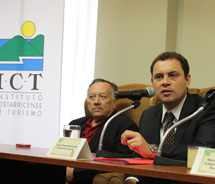Carlos Lizama, ACOPROT president (left) and Carlos Benavides Jimenez, the Costa Rica minister of tourism at an EXPOTUR press conference. // © 2010...