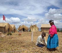The Uros people live a traditional lifestyle on their floating islands. // © 2011 Janeen Christoff