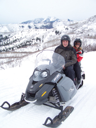 John Limper and daughter Mikaela snowmobile in Park City, Utah. // (c) John Limper